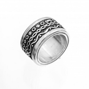 Change - anello unisex in argento naturale e brunito