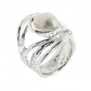 Nuvole - Anello in argento naturale e perle