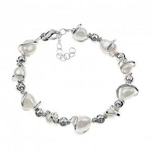 Nuvole - bracciale in argento naturale e perle