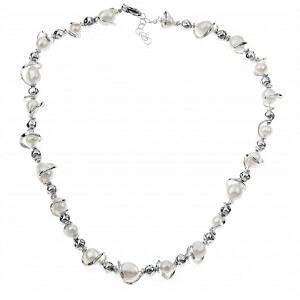 Nuvole - collana in argento naturale e perle