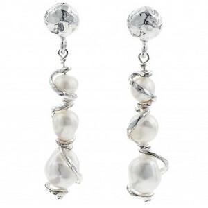 Nuvole - orecchini in argento naturale e perle