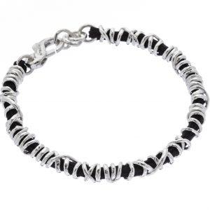 Soulman - bracciale in argento naturale e tessuto